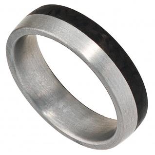 Partner Ring Edelstahl matt mit Carbon