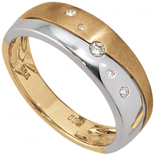Damen Ring 585 Gold Gelbgold Weißgold bicolor matt 5 Diamanten Brillanten
