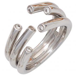 Damen Ring offen 585 Gold Weißgold 6 Diamanten Brillanten 0, 12ct. Weißgoldring