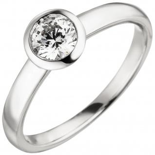 Damen Ring 585 Gold Weißgold 1 Diamant Brillant 0, 50 ct. Diamantring Solitär