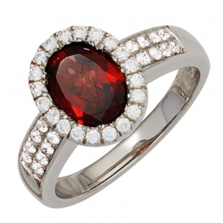 Damen Ring 925 Sterling Silber rhodiniert 1 Granat rot mit Zirkonia Silberring