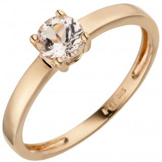 Damen Ring 585 Gold Rotgold 1 Morganit rosa Goldring Morganitring
