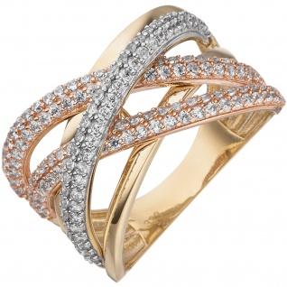 Damen Ring breit 333 Gold Gelbgold Rotgold bicolor mit Zirkonia