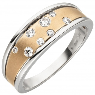 Damen Ring 375 Gold Weißgold Rotgold bicolor matt 8 Zirkonia Goldring
