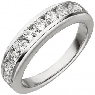 Damen Ring 925 Sterling Silber 9 Zirkonia Silberring