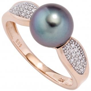 Damen Ring 585 Rotgold 1 Tahiti Perle 34 Diamanten Brillanten Perlenring