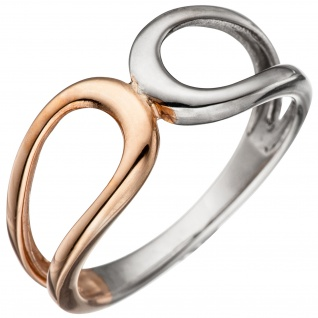 Damen Ring 925 Sterling Silber bicolor vergoldet Silberring - Vorschau