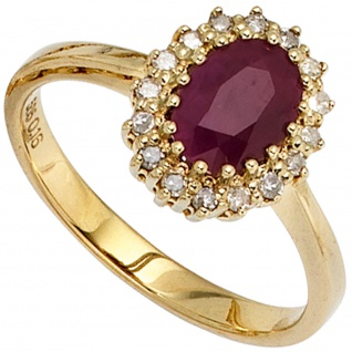 Damen Ring 585 Gold Gelbgold 1 Rubin rot 16 Diamanten 0, 16ct. Goldring