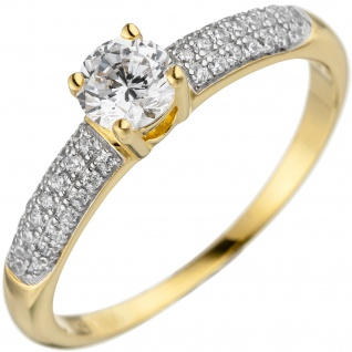 Damen Ring 925 Sterling Silber gold vergoldet mit Zirkonia