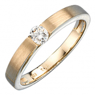 Damen Ring 585 Gold Gelbgold matt mattiert 1 Diamant Brillant 0, 25ct. Goldring