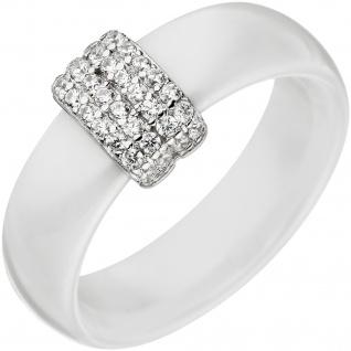 Damen Ring 925 Sterling Silber mit Keramik weiß und Zirkonia Keramikring