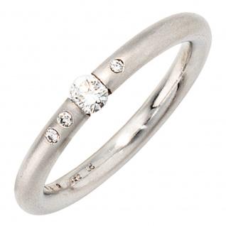 Damen Ring 950 Platin 4 Diamanten Brillanten 0, 20ct. Platinring