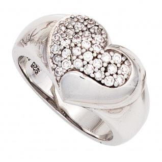Damen Ring Herz breit 925 Sterling Silber rhodiniert mit Zirkonia Silberring