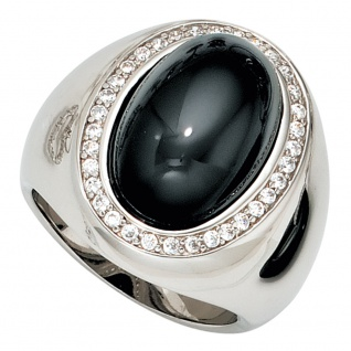 Damen Ring breit 925 Sterling Silber 1 Onyx Cabochon schwarz und Zirkonia