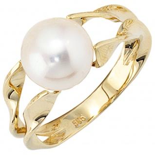 Damen Ring 585 Gold Gelbgold 1 Süßwasser Perle Goldring Perlenring