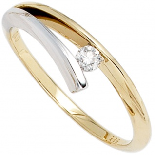 Damen Ring 585 Gold Gelbgold Weißgold bicolor 1 Diamant Brillant 0, 10ct.