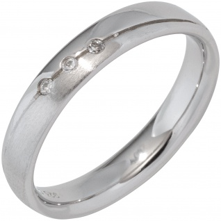 Partner Ring 925 Sterling Silber rhodiniert mattiert 3 Zirkonia Silberring