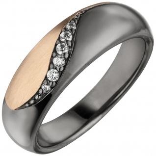 Damen Ring 925 Sterling Silber schwarz und roségold bicolor 6 Zirkonia