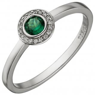 Damen Ring 925 Sterling Silber 19 Zirkonia gün und weiß Silberring