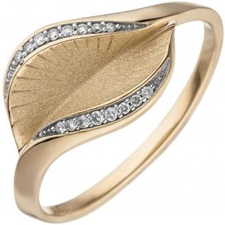 Damen Ring 585 Gold Gelbgold matt 16 Diamanten Brillanten