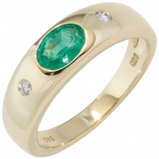 Damen Ring 585 Gold Gelbgold 1 Smaragd grün 2 Diamanten Brillanten Goldring