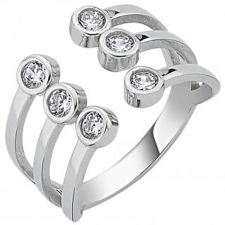 Damen Ring offen 925 Sterling Silber 6 Zirkonia Silberring
