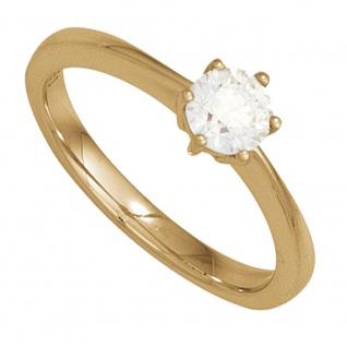 Damen Ring 585 Gold Gelbgold 1 Diamant Brillant 0, 20ct. Diamantring Goldring