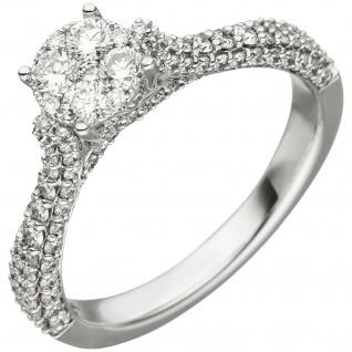 Damen Ring 585 Gold Weißgold 119 Diamanten Brillanten 1, 04ct. Diamantring