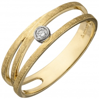 Damen Ring 585 Gold Gelbgold bicolor eismatt 1 Diamant Brillant Diamantring