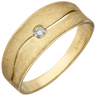 Damen Ring 585 Gold Gelbgold eismatt 1 Diamant Brillant 0, 06ct. Diamantring