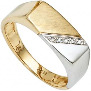 Herren Ring 585 Gold Gelbgold Weißgold bicolor 5 Diamanten Herrenring