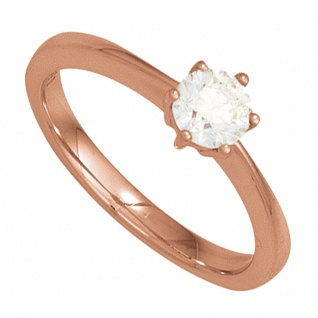 Damen Ring 585 Gold Rotgold 1 Diamant Brillant 0, 70ct. Diamantring