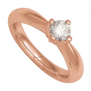Damen Ring 585 Gold Rotgold 1 Diamant Brillant 0, 20ct. Diamantring Goldring