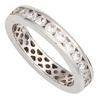 Damen Ring 925 Sterling Silber rhodiniert Zirkonia rundum Silberring