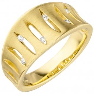 Damen Ring breit 585 Gold Gelbgold matt 6 Diamanten Brillanten Goldring