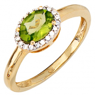 Damen Ring 585 Gold Gelbgold bicolor 1 Peridot grün 20 Diamanten Peridotring