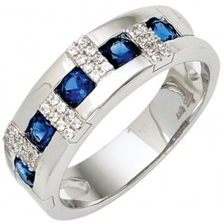 Damen Ring 925 Sterling Silber rhodiniert mit Zirkonia blau / weiß Silberring