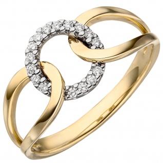 Damen Ring 585 Gold Gelbgold 16 Diamanten Brillanten