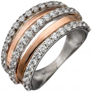 Damen Ring breit 925 Sterling Silber rotgold vergoldet bicolor mit Zirkonia