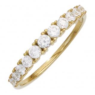 Damen Ring 333 Gold Gelbgold 11 Zirkonia Goldring