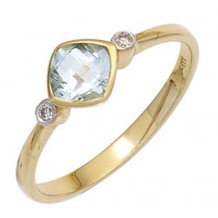 Damen Ring 333 Gold Gelbgold 1 Blautopas hellblau blau 2 Diamanten Goldring