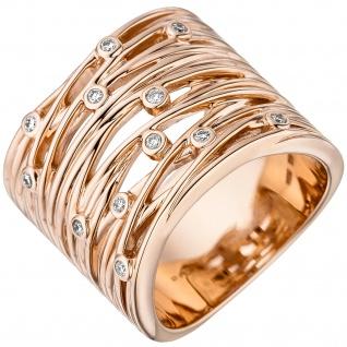 Damen Ring breit 585 Gold Rotgold 12 Diamanten Brillanten 0, 14ct. Rotgoldring