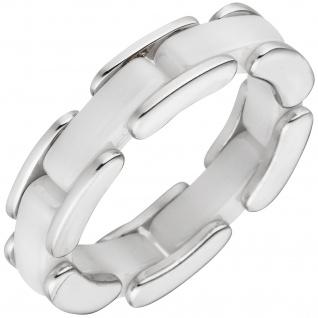 Damen Ring 925 Sterling Silber und weiße Keramik