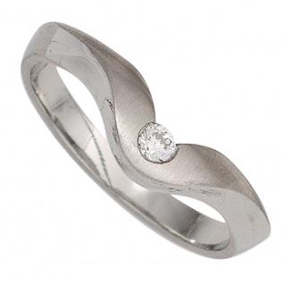 Damen Ring 950 Platin matt 1 Diamant Brillant 0, 08ct. Platinring