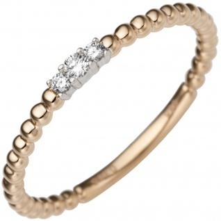 Damen Ring schmal zart 585 Gold Rotgold Weißgold bicolor 3 Diamanten Brillanten