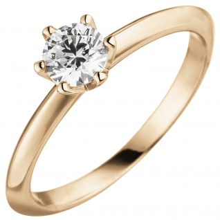 Damen Ring 585 Gold Rotgold 1 Diamant Brillant 0, 70 ct. Diamantring Solitär