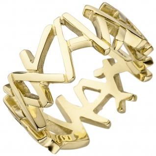 Damen Ring breit 585 Gold Gelbgold Goldring