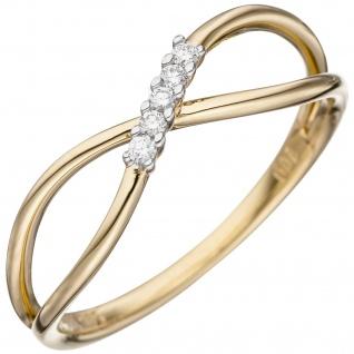 Damen Ring 585 Gold Gelbgold 5 Diamanten Brillanten Goldring Diamantring