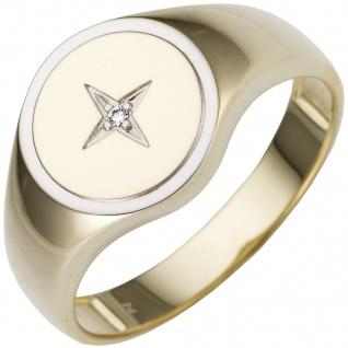 Herren Ring 585 Gold Gelbgold bicolor 1 Diamant Brillant Goldring