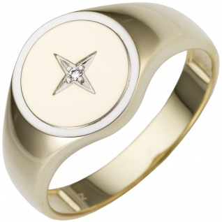 Herren Ring 585 Gold Gelbgold bicolor 1 Diamant Brillant Herrenring